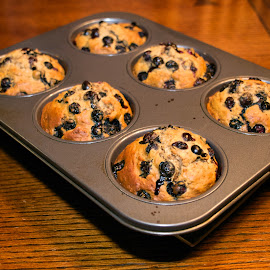 Muffin Tray by Alan Roseman - Food & Drink Cooking & Baking ( muffins, blueberry, oven fresh, fresh, food, breakfast, comfort food,  )