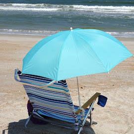 Beach Chair by Judy Dean - Novices Only Objects & Still Life ( water, sand, chair, blue, ocean, beach, stripe,  )