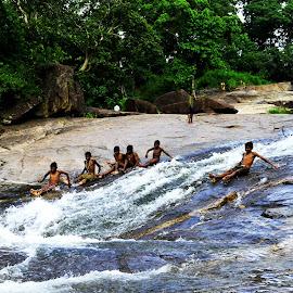 Joy of life by Kaushik Dutta - Landscapes Mountains & Hills ( playing, nature, waterfall, children, landscape photography, shower, landscape )