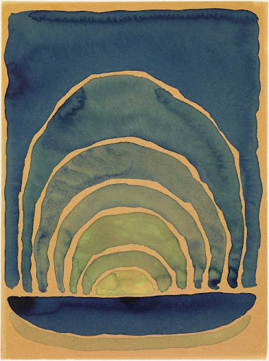 In the meantime, O'Keeffe had gone to Texas, where she had taken a position at a teaching college in the small Panhandle town of Canyon. She continued her exploration of abstract natural forms in works such as this watercolor of the West Texas sunrise.