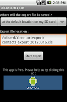 Screenshot of XlContactExport