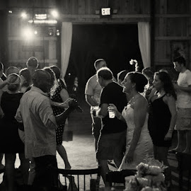 K&S by Julie Steinberg - Wedding Reception ( reception, laughing, dancing, dance floor, friends, black and white, wedding, night, candid, bride, Wedding, Weddings, Marriage )