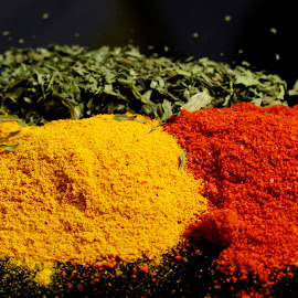 3 Spices. by Dipali S - Food & Drink Ingredients ( red pepper, corriander, cilantro, tureric, spice, powder, indian, ingredient )