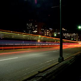 Speed of Light by Dan Allard - City,  Street & Park  Street Scenes ( light trail, massachusetts, lights, automotive, lighting, boston, longfellow, cars, light trails, night, long exposure, bridge, trains,  )