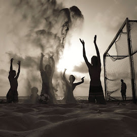 The Dream Team by Kobi Refaeli - Instagram & Mobile iPhone ( sand, ball, sky, football, sunset, boys, bw, beach, goldenhour, sun, soccer )