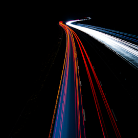 North Bound by Mark Helm - Abstract Light Painting ( exposure, lights, traffic, cumbria, m6, dark, minimal, north, long, trails )