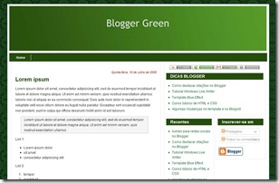template blogger green
