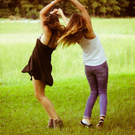 Dancing by Isabel Sweere - People Couples ( field, girls, dancing, friends, candid )