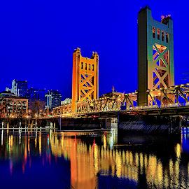 I Street Bridge by Curt Lerner - Buildings & Architecture Bridges & Suspended Structures ( i st bridge, sacramento, california, blue hour, bridges, riverways, colorful, mood factory, vibrant, happiness, January, moods, emotions, inspiration )