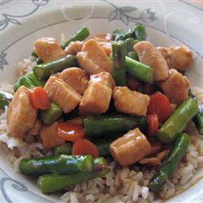 Wild Rice with Hoisin Asparagus and Chicken