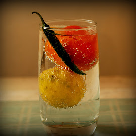 In a Fizz by Prasanta Das - Food & Drink Ingredients ( tomato, chillie, bubbles, soda, lemon )