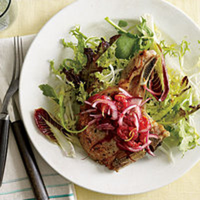 Pork Chops with No-Cook Raspberry Relish