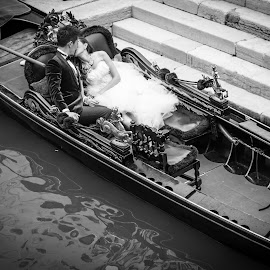 Pure Romance  by Lauren Carroll - People Couples ( gondola, wedding, venice, italy, engagement,  )