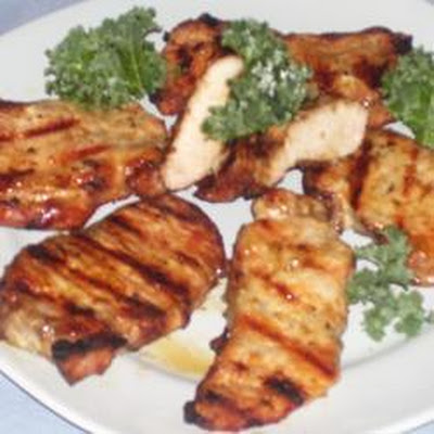 Barbecued Pork Chops with Lemon Butter Sauce