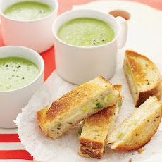 Green-Pea Soup with Cheddar-Scallion Panini
