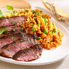 Grilled Steak With Red Tomato Rice