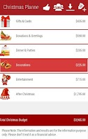 Screenshot of Christmas Budget Planner