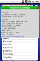 Screenshot of Rijmen-Micks Rijmwoordenboek