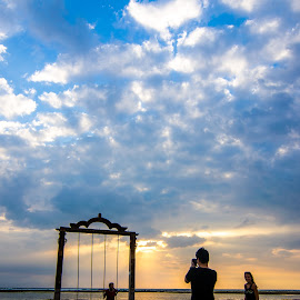 Capturing The Memorable Moments by Chin Fei Ng - People Family ( clouds; family; swing; beach; sunset )