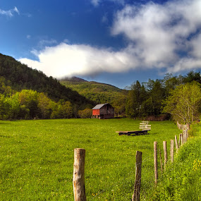 The Barn by Jeff Stallard - Landscapes Prairies, Meadows & Fields ( field, fence, red, barn, west virginia )