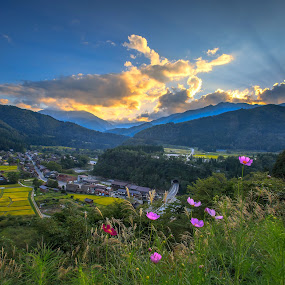 The Roll of Sunset  by Bertoni Siswanto - Landscapes Mountains & Hills ( mountain & hills, gifu, sunset, hidden village, landscape,  )