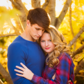 In the Sugar Maple by Jody Johnson - People Couples ( love, ble, tree, outdoor, sugar maple, yellow, engagement )