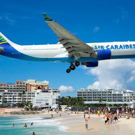 Air Caraibes by Lynn  Fleishman - Landscapes Travel ( st maarten, landing, plane, saint maarten, sunset beach, airplane, islands, beach, air caraibes, jet )