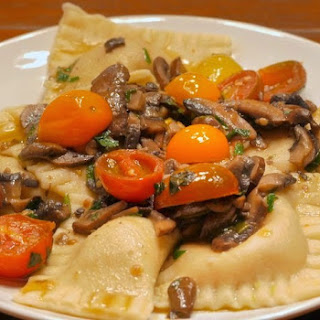 Bacon Filled Ravioli with Mushroom & Fresh Tomato Sauce