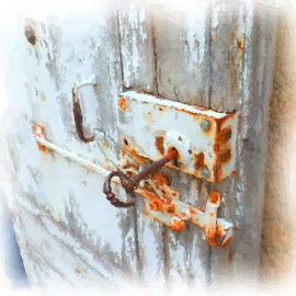 Castle Door latch, Beaune, France by Larry Young - Digital Art Things ( watercolor, resty, light blues, weathered door, key )