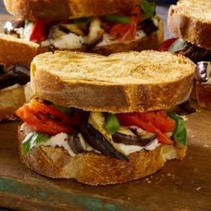 ... arugula grilled eggplant red pepper and herbed goat cheese sandwiches