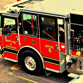 W.F.D. Wichita Fire Department  #8 by Vince Scaglione - Transportation Other ( red, engine, department, emergency, firetruck, transportation, fire )