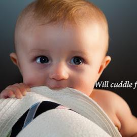Will cuddle for milk. by Olga  Straatsma - Babies & Children Child Portraits ( child, babies, black and white, close up, baby boy, portrait, kid )