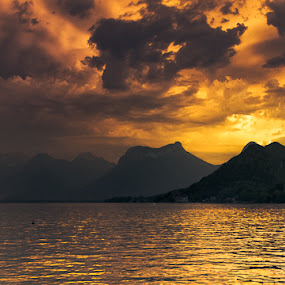 Golden Lake by Stéphane zOz - Landscapes Waterscapes ( annecy, mountain, sky, montagne, zoz, lake, landscape, golden, lac )