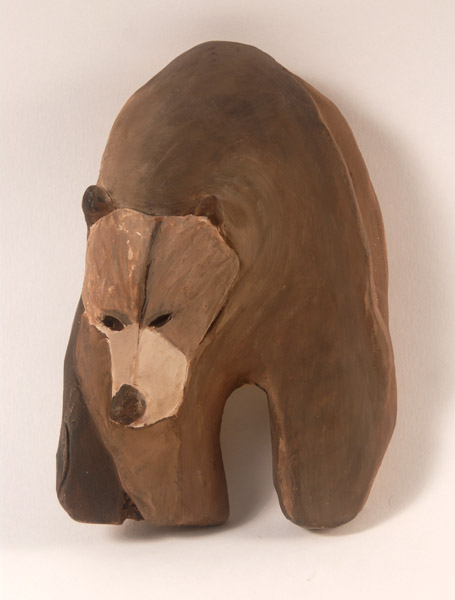 Brown Bear <br> Stoneware, low fired with acrylic paint<br> 8 x 5.5 x 1.7 in