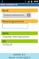 Screenshot of IBAN Calculator NL