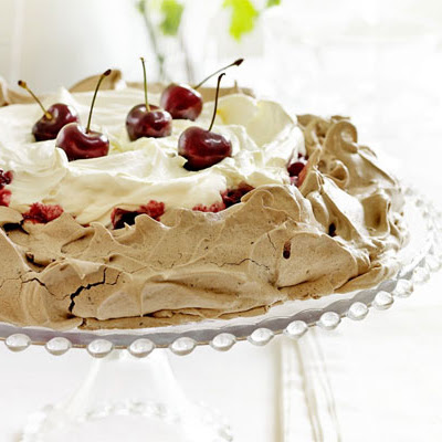 Cherry chocolate Pavlova