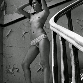 Beautiful Decay by Adrian Popescu - Nudes & Boudoir Artistic Nude ( film, nude, analogic, portrait, black&white, erotic, girl, stairs, woman, naked, breasts, ruins, decay, abandoned )