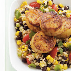 Pan-Seared Scallops with Southwestern Rice Salad