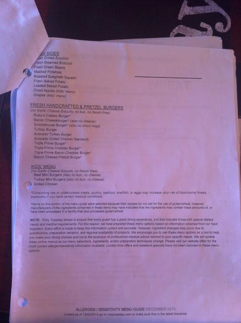 Page 2 of gluten-free menu