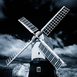 windmill by June Gathercole - Landscapes Cloud Formations