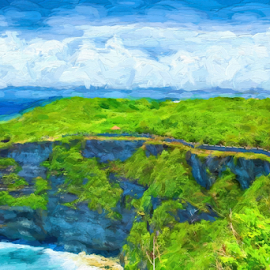 Pura Luhur Uluwatu by Ferdinand Ludo - Digital Art Places ( bali, sea cliff, uluwatu, indonesia )