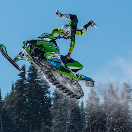 X Marks The Spot by Linda Farwell Ryma - Sports & Fitness Snow Sports ( fwhp, old fort william, fort william historical park, stunts, snowmobiles )