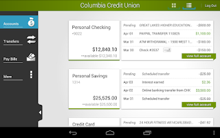 Screenshot of Columbia Credit Union