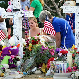 Aurora Theater Shooting by Hans Watson - News & Events US Events ( sorrow, flags, memorial, theater shooting, sadness, death, aurora, colorado, theater, mourning, cross, shooting,  )
