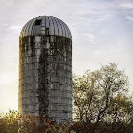 Silo by Diane Clontz - Novices Only Objects & Still Life ( countryside, sky, fall colors, new york, silo )