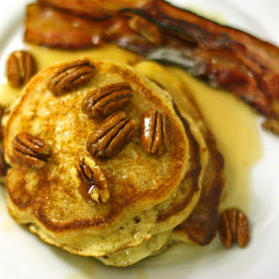 Pancakes With Bourbon Maple Sauce and Toasted Pecans