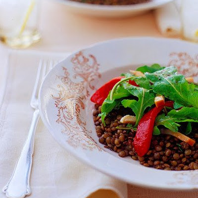 Arugula Salad with French Lentils, Smoked Chicken, and Roasted Peppers