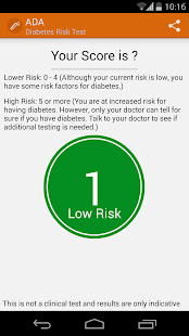 Diabetes risk test (ADA) - screenshot