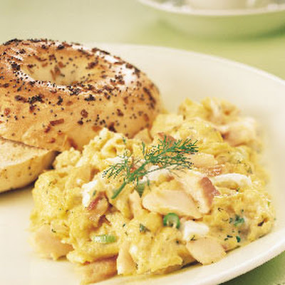 Creamy Scrambled Eggs with Smoked Trout and Green Onions