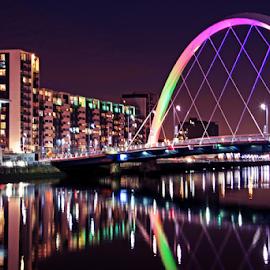 Glasgow by Stephanie Veronique - City,  Street & Park  Night ( water, building, light.reflection, night, bridge, architecture, city )